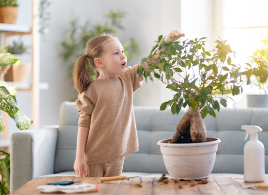 girl taking care of plant in a flower pot